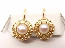 Vtg 14K Gold Cultured Mabe Pearl Drop Dangle Earrings Solitaire Signed JDU Omega