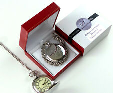 NASA Silver Plated Pocket Watch Space Mission Agency Shuttle Apollo  Gift Case