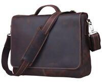 """Men 14"""" Laptop Briefcase Vintage Real Leather Shoulder Messenger Bag Satchel"""
