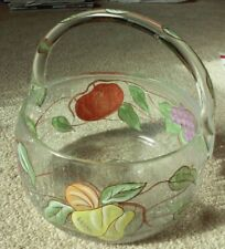 """Crackle Glass Basket Bowl With Handle Hand Painted Fruits, 7.5""""D X 8""""H"""