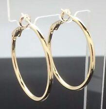 3.5cm Medium Large Round Hoop Ring Earrings 14ct Gold GF Wedding Quality