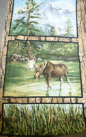 Wild in the Wilderness moose wildlife scenic panel Riverwoods fabric