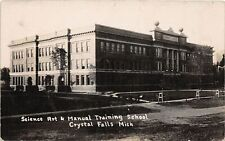 G98/ Crystal Falls Michigan RPPC Postcard c10 Science Art Manual Training School