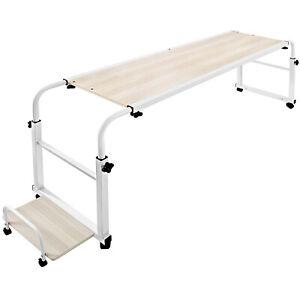 Mobile Over Bed Laptop Trolley Desk Overbed Hospital Medical Table w/Wheels