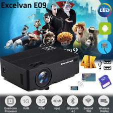E09 Multimedia 1080P 4K WiFi Android 3D LED Home Cinema Projector HDMI+VGA+AV+TF
