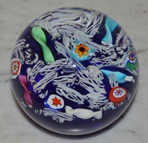 Vintage Gentile Glass Star City, WV Latticino LACE Ribbon Paperweight Millefiori