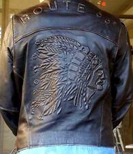 Route 66 Vintage Black Leather Indian Embossed Oversize Motorcycle Biker Jacket