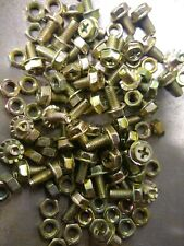 M5x10mm Yellow Zinc Plated Philips Serrated Flange Hex Head Bolt + nuts . qty 50