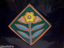 "Vintage Art Tile Trivet ENAMELED Terra Cotta Art Nouveau FLOWER 6.75"""
