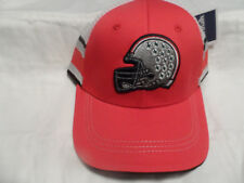NCAA OSU BUCKEYES HAT CAP RED WITH GRAY HELMET WITH LEAVES RAISED FAN1 MED-LG