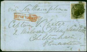 India 1861 4a Black SG45 on Cover to Capt Carter Cheltenham