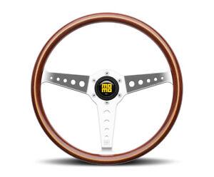 MOMO California Wood Steering Wheel Heritage 360mm Chrome Polished Spokes