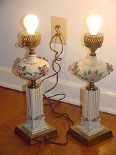 2 Vintage Electric Table 3-Way Lamp Brass Base Porcelain Ceramic Pedestal Flower