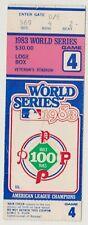 1983 World Series Ticket Stub Game 4 Baltimore Orioles At Philadelphia Phillies