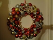 "Christmas ball ornament wreath 23"" bulbs Red, Gold and Silver & Nutcracker"