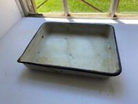 Vintage White Enamelware Porcelain Baking Cooking 8 x 10 Rectangular Pan