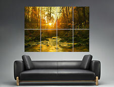 Automne Nature forêt couché soleil Sunset Forest Wall Art Poster A0 Large print