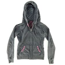 Delias Juniors Grey Hoodie Size XS Pink Studded Drawstring Zip Up Sweatshirt