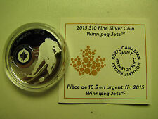 2015 Proof $10 NHL-Winnipeg Jets Canada .9999 silver COIN&COA ONLY ten dollars
