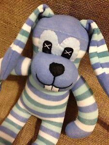 GIANT Sock Rabbit - Sock Animal - Bunny - Blue Stripey Cuddly