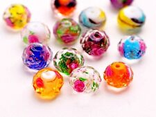 10Pcs 12mm Faceted Glass Crystal Rose Flower Inside Lampwork Beads Spacer Charm