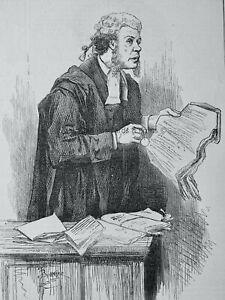 1871 Original Print BARRISTER - MR TOOLE AS SERJEANT BUZFUZ at GAIETY THEATRE