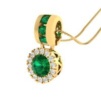 0.65 Ct Round Green Emerald & Sapphire Halo Pendant Necklace 14k Yellow Gold GP