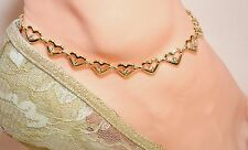 """HEARTS C.Z. STONES 14Kt Gold Clad Bond ANKLET ANKLE BRACELET HEARTS 9"""" TO 13"""""""