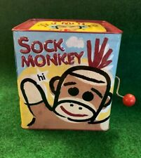 Schylling Sock Monkey Jack-in-the-Box Pop Goes the Weasel Brown Yellow 2008