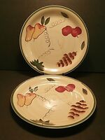 Royal Norfolk Tuscan Fruit Dinner Plates Grapes Pears Green Band--Lot of 2!!