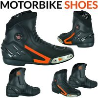 Mens Motorbike Boots Biker Waterproof Leather Motorcycle Rider Shoes CE Armoured