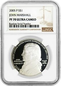 2005 P $1 John Marshall Commemorative Silver Dollar NGC PF70 Ultra Cameo