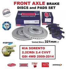 FRONT BRAKE PADS + DISCS SET for KIA SORENTO 2.2CRDi 2.4 CVVT GDi 4WD 2009-2014