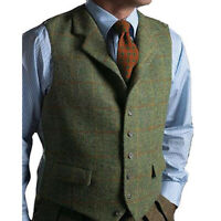 Fashion Men's Plaid Vests Suit Wool Herringbone Tweed Waistcoat Lapel Groomsman+