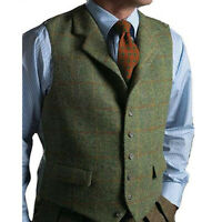 Men's Fashion Waistcoat Vests Plaid Herringbone Suit Notch Lapel Groomsman