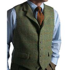 Men's Vest Tweed Wool Waistcoat Lapel Plaid Suit Vest Tuxedo Vest For Groomsmen