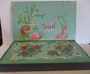 Vintage Floral Cannon 3 Piece Boxed Terry Towel Set by Designer Joy-Ceil -Green