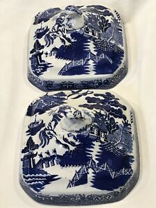 Two Antique Barker Bros Blue Willow -  Covers ONLY - Vegetable Serving Dish L396