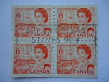 Canada QEII 1968 SG601a 4 x 6c orange red from booklet pane used
