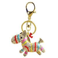 Colorful Zebra Horse Pendant Crystal Handbag Key Ring Keychain