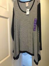 NEW Womens XXL Plus Long Striped Shirt Career Shark Bite $68 1X/2X Black/white *