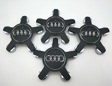 Set of 4 Matte Black 135mm Wheel Center Hub Caps For Audi A3-A8 #4F0601165N
