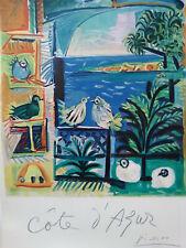 """Pablo Picasso Original Travel Poster """"Cote d'Azur"""" Mourlot 1962 Tourism print"""
