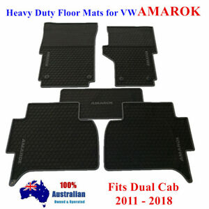 Waterproof Rubber Floor Mats Tailor Made Volkswagen Amarok 2011 - 2018 Dual Cab