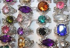 Top Quality Job Lots 5pcs colorful Imitation zircon ring silver p women's rings