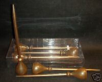 "$30 NEW/SET OF 3-10"" TALL-STAKED-GLASS TEALIGHT CANDLE HOLDERS/PLANTS/GOLD COLOR"