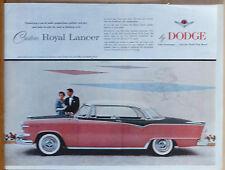 Vintage 1954 magazine ad for Dodge - pink & black Custom Royal Lancer photo ad