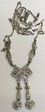Antique Art Deco Solid Platinum  Diamond Lavaliere Milgrain Pendant Necklace
