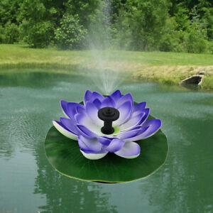 HO_ Solar Lotus Powered Fountain Water Pump for Garden Pond Pool Fish Bird Bath
