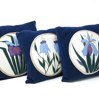 Vtg Set of 3 Throw Pillow Cushion Applique Orchid Floral Pattern Blue 70s 80s